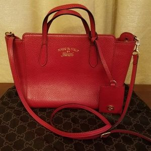 Gucci Tote Swing Mini Pink Leather Cross Body Bag